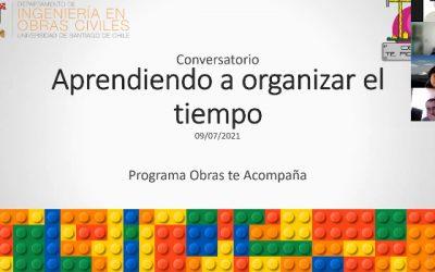 Programa Obras te Acompaña realizó conversatorio sobre el manejo del tiempo